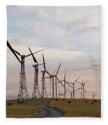 Cattle Graze In Field Next To Windmills Fleece Blanket