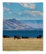 Cattle Grazing At Hawea Lake In Southern Alps In New Zealand Fleece Blanket