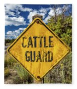 Cattle Guard Road Sign Fleece Blanket
