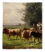 Cattle Heading To Pasture Fleece Blanket