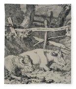 Cattle Resting Fleece Blanket