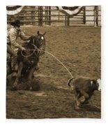 Cattle Roping In Colorado Fleece Blanket