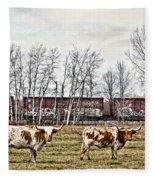 Cattle Train Fleece Blanket