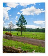 Cattles Roaming Through Hawley Lake Arizona Fleece Blanket