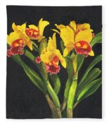 Cattleya Orchid Fleece Blanket