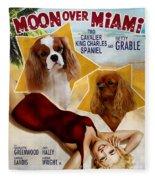 Cavalier King Charles Spaniel Art - Moon Over Miami Movie Poster Fleece Blanket