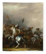 Cavalry Attacked By Infantry Fleece Blanket