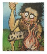Caveman And Fire Fleece Blanket