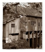 Cedar Creek Grist Mill Sepia Fleece Blanket