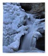 Cedar Falls In Winter At Hocking Hills Fleece Blanket