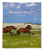 Cedar Island Wild Mustangs 51 Fleece Blanket