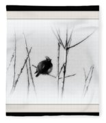 Cedar Waxwing - Black And White  Fleece Blanket