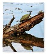 Happy Family Of Turtles Fleece Blanket