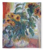 Sale - Sunflowers In Window Light - Original Impressionist - Large Oil Painting Fleece Blanket