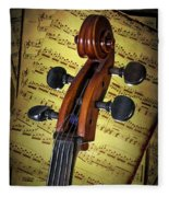 Cello Scroll With Sheet Music Fleece Blanket