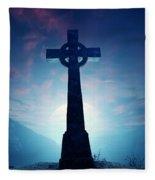 Celtic Cross With Moon Fleece Blanket