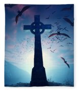 Celtic Cross With Swarm Of Bats Fleece Blanket