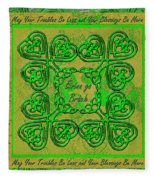 Celtic Irish Clover Home Blessing Fleece Blanket