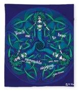 Celtic Mermaid Mandala In Blue And Green Fleece Blanket
