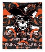 Celtic Spiral Pirate In Orange And Black Fleece Blanket