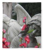 Cemetery Stone Angels And Flowers Fleece Blanket