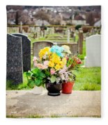 Cemetery Flowers Fleece Blanket