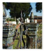 Cemetery Gate With Peeling Paint Fleece Blanket