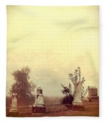 Cemetery In The Fog Fleece Blanket