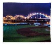 Centennial Bridge And Modern Woodmen Park Fleece Blanket