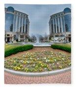Center Fountain Piece In Piedmont Plaza Charlotte Nc Fleece Blanket