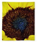 Center Of A Sunflower Fleece Blanket