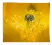 Center Of A Yellow Cactus Flower Fleece Blanket