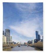 Central Melbourne Skyline By Day Australia Fleece Blanket
