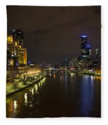 Central Melbourne Skyline In Australia Fleece Blanket