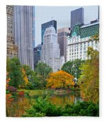 Central Park And Fifth Autumn View Fleece Blanket