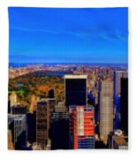 Central Park And New York City In Autumn Fleece Blanket