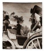 Central Park Carriage Ride - Antique Appeal Fleece Blanket