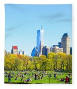 Central Park Panoramic View Fleece Blanket