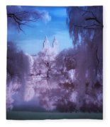 Central Park Lake Willows Color Fleece Blanket