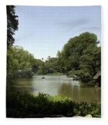 Central Park Pond Fleece Blanket