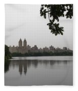 Central Park Reservoir With Reflection Nyc Fleece Blanket