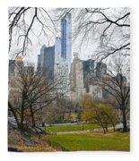 Central Park South Buildings From Central Park Fleece Blanket