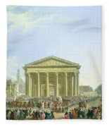 Ceremony Of Laying The First Stone Of The New Church Of St. Genevieve In 1763, 1764 Oil On Canvas Fleece Blanket