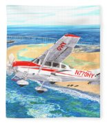 Cessna 206 Flying Over The Outer Banks Fleece Blanket