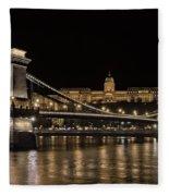 Chain Bridge And Buda Castle Winter Night Fleece Blanket