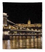 Chain Bridge And Buda Castle Winter Night Painterly Fleece Blanket