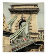 Chain Bridge Crossing The Danube River Fleece Blanket