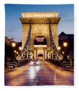 Chain Bridge In Budapest At Night Fleece Blanket