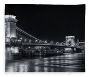 Chain Bridge Night Bw Fleece Blanket