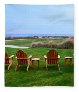 Chairs At The Eighteenth Hole Fleece Blanket
